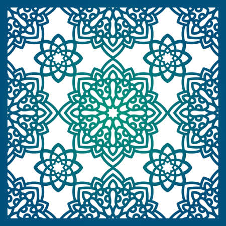 diecut: Square Pattern panel for laser cutting with mandalas. Illustration