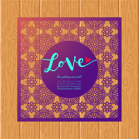 plywood: Save the date card. Laser cutting pattern. Illustration
