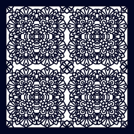 insertion: Square Pattern panel for laser cutting with mandalas. Illustration