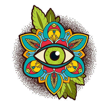 Ornamental peony, rose flower with an eye of providence. Illustration