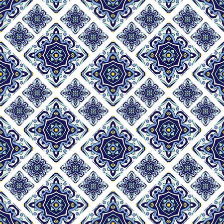 ポルトガル azulejo タイル。青と白の豪華なシームレスなパット  イラスト・ベクター素材