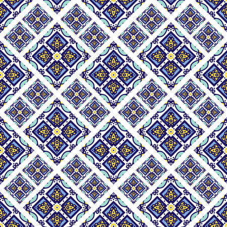 faience: Portuguese azulejo tiles. Blue and white gorgeous seamless patte