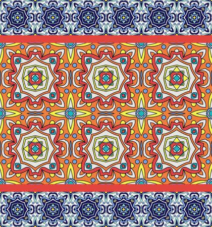 Portugiesisch Azulejos. Blaue und weiße herrlich nahtlose patte Standard-Bild - 73299146