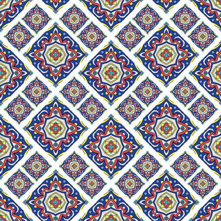 talavera: Portuguese azulejo tiles. Blue and white gorgeous seamless patte