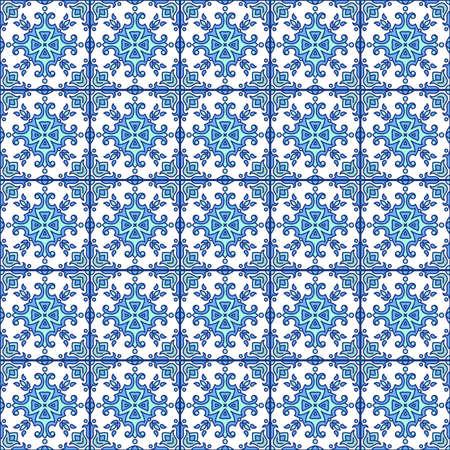 Portugese azulejo tegels. Blauw en wit prachtige naadloze patte Stock Illustratie