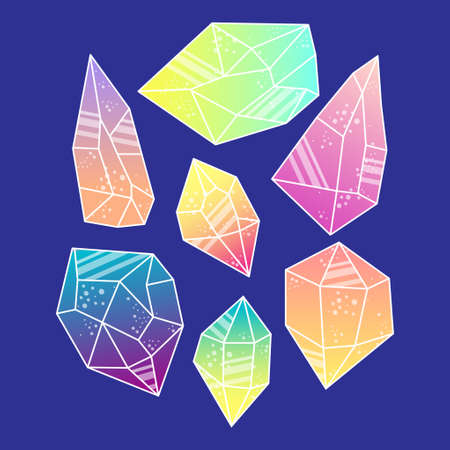Magic crystals of pyramidal shape. Illustration