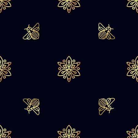 Fashionable Seamless pattern with gold Bee.