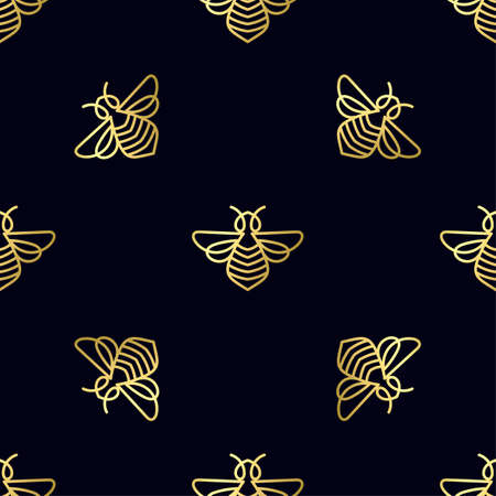 Golden Seamless pattern with gold Bee.