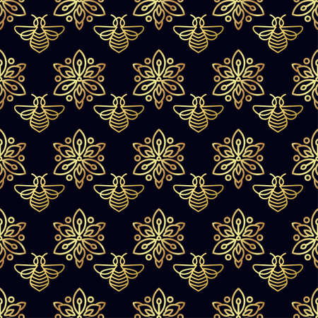 Flawless Seamless pattern with gold Bee.