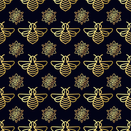 Emblem of Seamless pattern with gold Bee Illustration