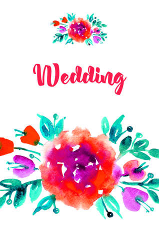 Vertical greeting card with watercolor roses.