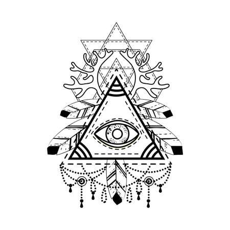 ojo de horus: Símbolo de la pirámide del ojo que todo lo ve.
