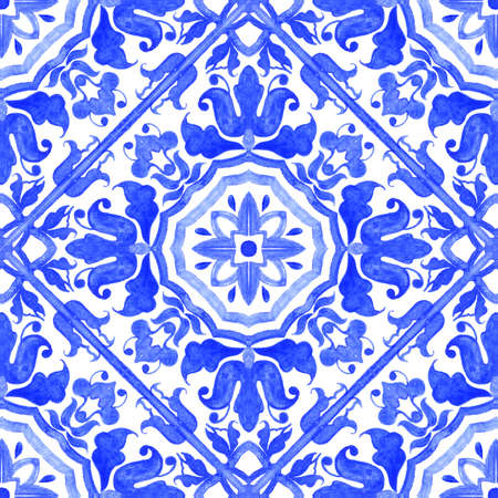 Portuguese azulejo tiles. Watercolor seamless pattern 版權商用圖片