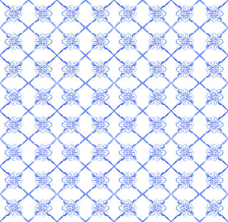 Portuguese azulejo tiles. Watercolor seamless pattern Фото со стока
