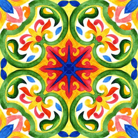 ポルトガル azulejo タイル。水彩のシームレス パターン