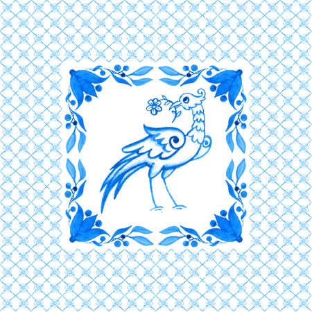 Portuguese azulejo tiles. Watercolor seamless pattern with bird Фото со стока