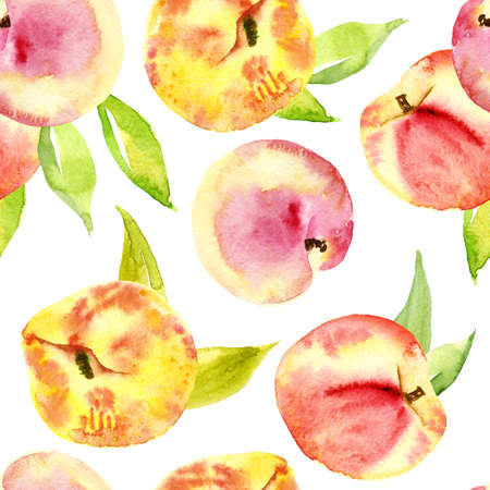 Seamless watercolor of peaches.