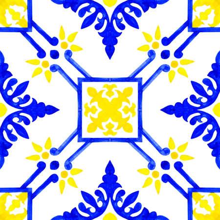 Portuguese azulejo tiles. Watercolor seamless pattern Banco de Imagens