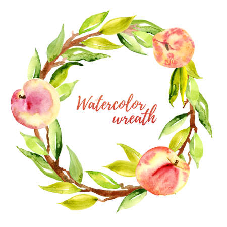 Peach watercolor wreath. Stock Photo