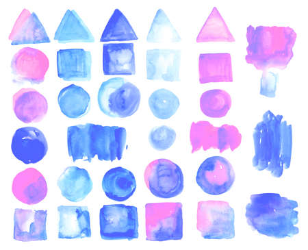 hyperspace: Set of watercolor stains of rose quartz color.