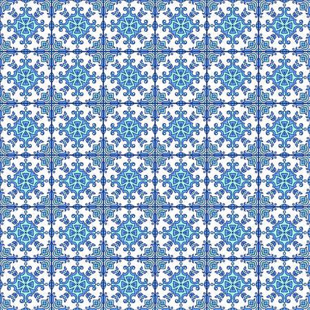 Portugiesisch Zu. Blaue und weiße herrlich nahtlose Muster. Für das Scrapbooking, die Tapete in blau. Standard-Bild - 73886343