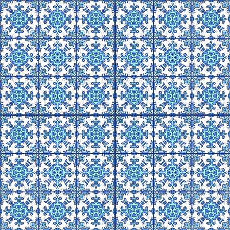 Portuguese azulejo tiles. Blue and white gorgeous seamless patterns. For scrapbooking, wallpaper in blue.