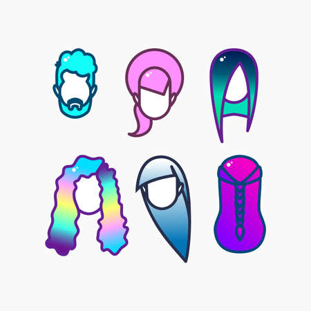 Dyed hair  icon set.  Beauty Fashion head for  hairdressers, hair salons, hair salons, spas, hair dyes, beauty studios