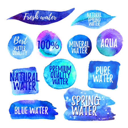 ideograph: Set of water labels