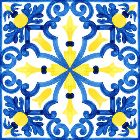 Portugiesische Azulejo Fliesen. Aquarell nahtlose Muster