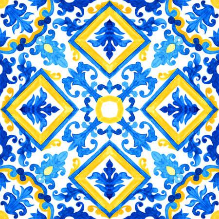Portuguese azulejo tiles. Watercolor seamless pattern 스톡 콘텐츠