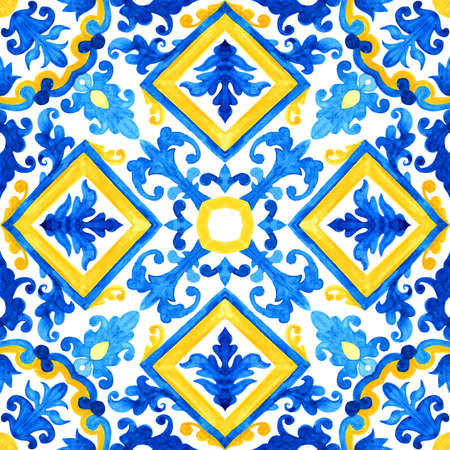 Portuguese azulejo tiles. Watercolor seamless pattern 版權商用圖片