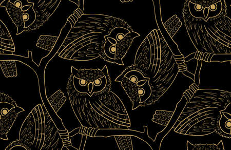 Big-eared owl. A seamless pattern in the handdrawn style. Illustration