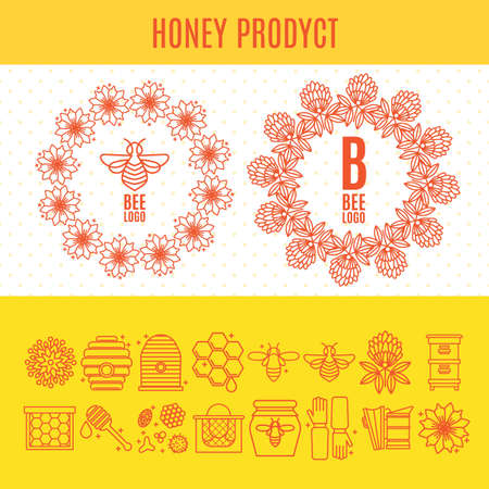 Set of icons an apiary and beekeeping in a linear style. Illustration
