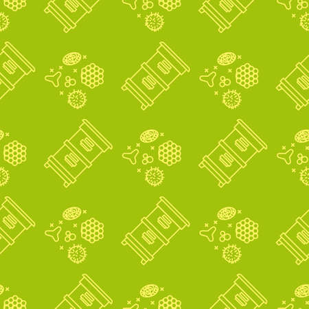Apiary and beekeeping seamless pattern