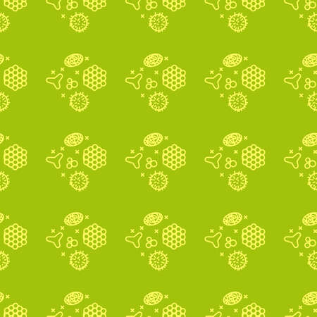 Pollen beekeeping. Seamless pattern in a linear style.