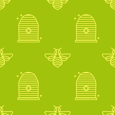 Beautiful Seamless pattern in a linear style on the theme of the apiary and beekeeping. Bees and beehives.Texture for scrapbooking, wrapping paper, textiles, web page, surface design, fashion