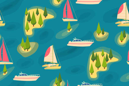 cypress: Travel retro seamless pattern Illustration