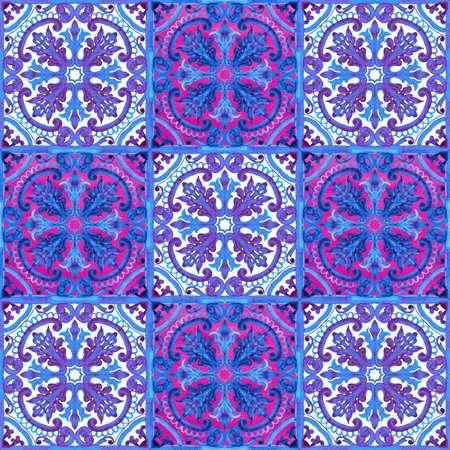 Portuguese azulejo tiles. Watercolor seamless pattern Stock Photo