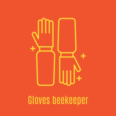 Vector illustration of thin line icon Beekeeper s Gloves
