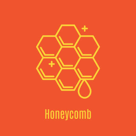 Vector illustration of thin line icon honeycomb for medicine, apitherapy, beekeeping products, cosmetics, soap. Linear symbol