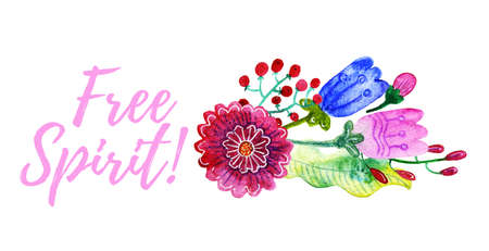 gentle: Lettering Free Spirit Watercolor gentle bouquet of flowers isolated on white background. Banner, print for T-shirts, pillows, postcards