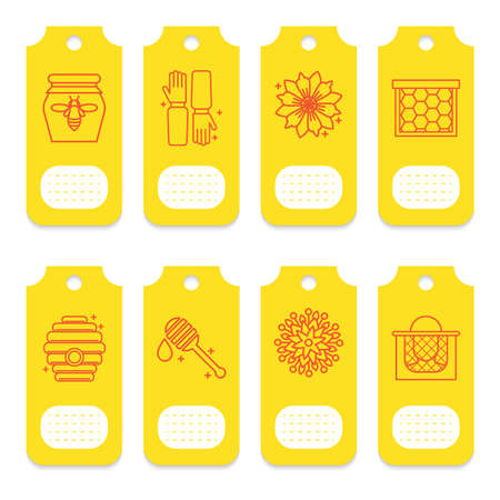 Set of tags for beekeeping, honey, apiary. Illustration