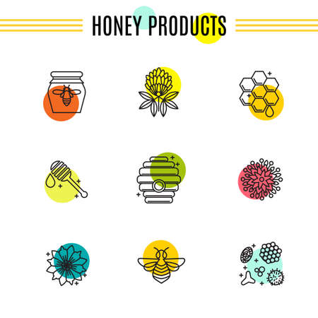 Set of icons of beekeeping, honey, apiary.