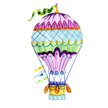 Luchtballon en een krans van vlaggen, geschilderd in waterverf. Aerostaat die op witte achtergrond wordt geïsoleerd. Geschikt voor ansichtkaarten, gefeliciteerd met verjaardagen, afdrukken op kussens, T-shirts, tassen Stockfoto