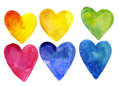 Set of watercolor hearts of different colors. Isolated on white background. For medicine, romantic postcards, posters and designs. Stock Photo