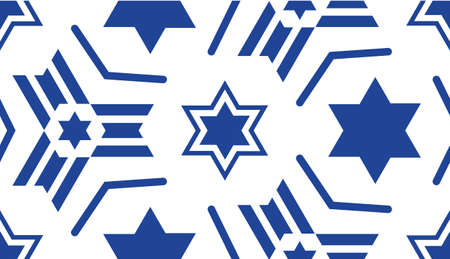 Seamless pattern, with a blue star of David.