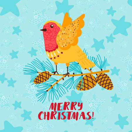 Merry Christmas greeting card with robin bird.