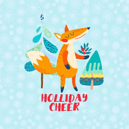 Holliday cheer Cartoon red fox greeting card.