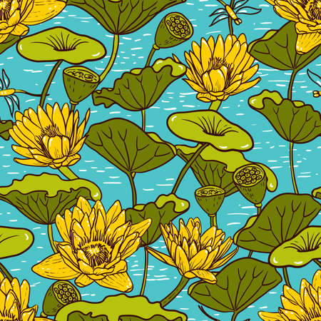 Elegant Seamless floral pattern with Yellow Water Lilies Nymphaea and Dragonflies , botanical illustration. Pond with lotus. Design for textiles, fabrics, paper, wallpaper. Vector
