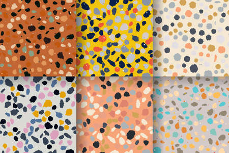 Terrazzo seamless pattern. Imitation of a Venetian stone floor with granite and quartz chips for the house. The texture is suitable for textiles, prints, packaging design. Vector illustration. 일러스트